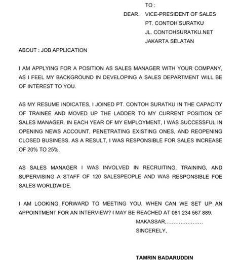 contoh surat lamaran kerja dalam bahasa inggris terbaru