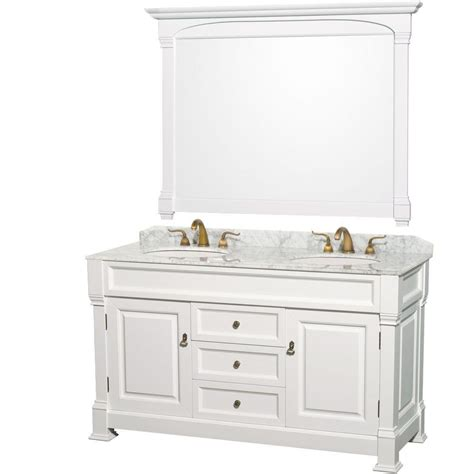 White Vanity Marble Top Wyndham Collection Andover 60 In Vanity In White With Marble Vanity Top In Carrara White