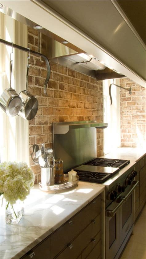 brick backsplash in kitchen brick backsplashes rustic and full of charm