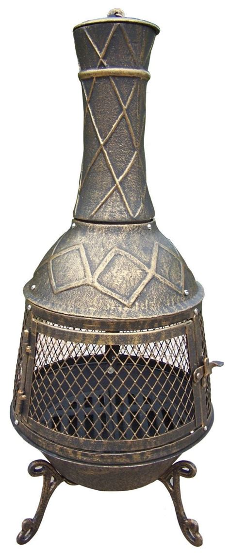 vintage chiminea cast iron chiminea pit fireplace grill patio garden