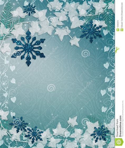 Free Template Invitation Card Snowflakes by Snowflakes Background Blue Stock Illustration