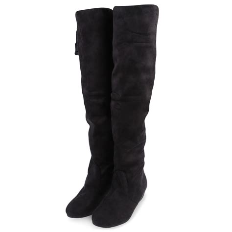 thigh high boots flat heel new fashion flat low heel the knee thigh high