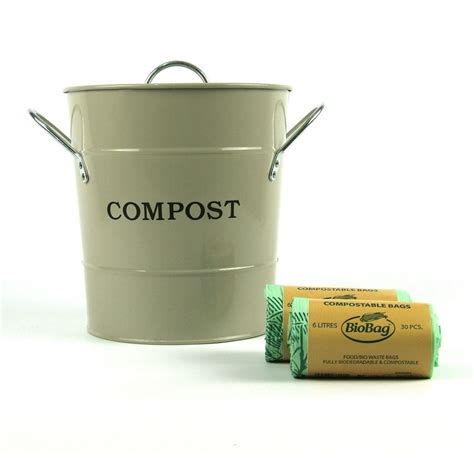 metal kitchen compost caddy clay colour 60x 5l biobags