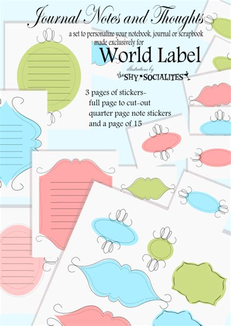 Free Printable Journal Labels | labels for journal notes and thoughts worldlabel blog