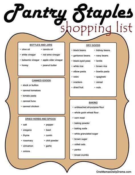 pantry staples shopping list