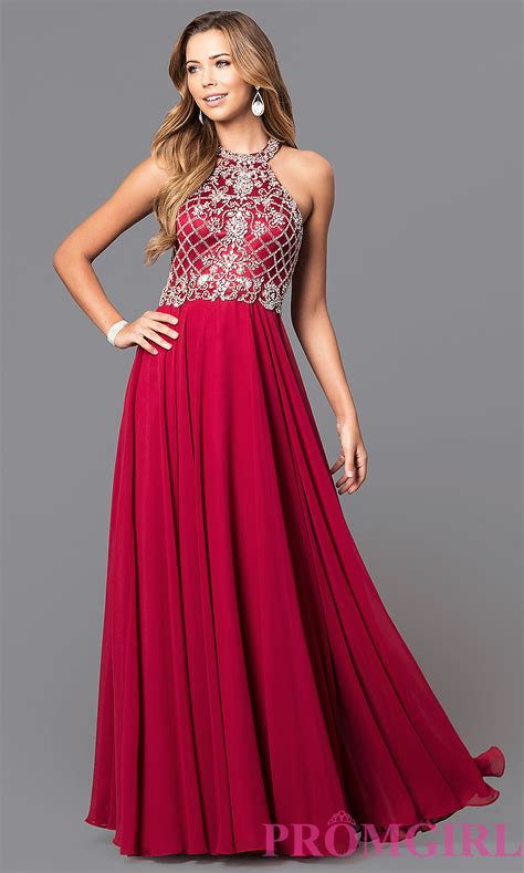 Prom Dresses by Jeweled High Neck Chiffon Prom Dress Promgirl