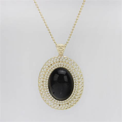 black chain with pendant necklace blue black oval pendant