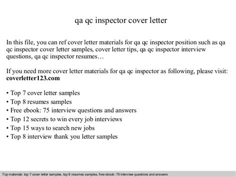 Coating Inspector Cover Letter by Qa Qc Inspector Cover Letter
