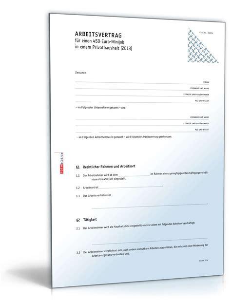 Bewerbung Minijob Haushaltshilfe Arbeitsvertrag Minijob Privathaushalt Muster Zum