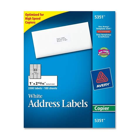 Avery Rectangle 1 Quot X 2 81 Quot Mailing Labels 3300 Per Box White Ld Products Xerox Labels 33 Per Sheet