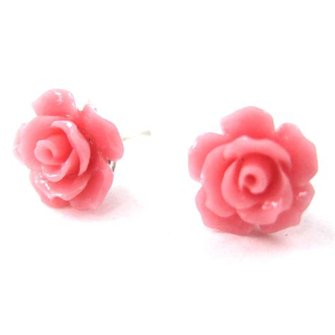 Small Pink small floral resin stud earrings in light pink 183 dotoly 183 the animal wrap rings and jewelry
