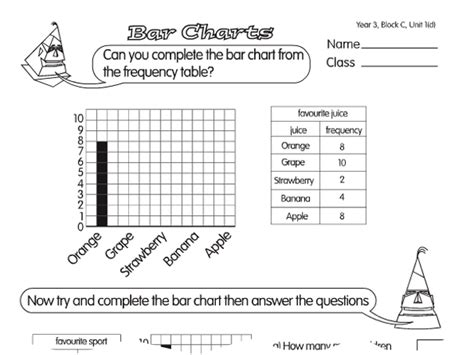 Data And Statistics Worksheets by Bar Chart Challenge A Year 3 Handling Data Worksheet