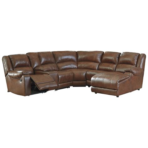 sectional sofa with console signature design by billwedge leather match