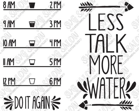 Home Decorating Quotes by Less Talk More Water Motivational Water Bottle Decal