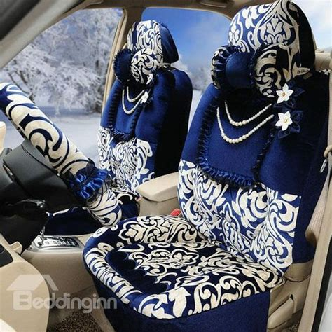 blue girly cars lush decor blue and white style flowers pattern ultra