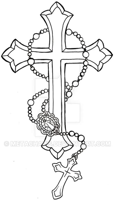 black tribal and outline cross tattoo design sample