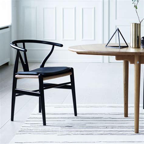carl hansen son ch wishbone chair anthracite grey black paper cord seat