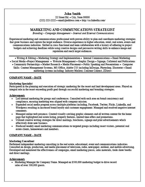 Marketing Specialist Sle Resume by Marketing Specialist Resume Template Premium Resume Sles Exle