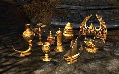 Skyrim Thieves Guild Trophy Shelf real gold trophies at skyrim nexus mods and community