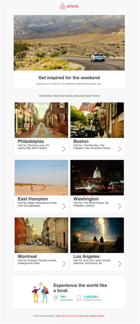 airbnb us design inspiration from travel newsletters email design