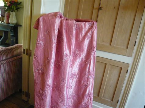 pink satin curtains vintage curtains in tulip print