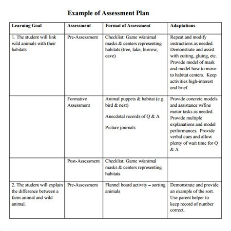 Assessment Plan Template sle assessment plan 9 documents in pdf