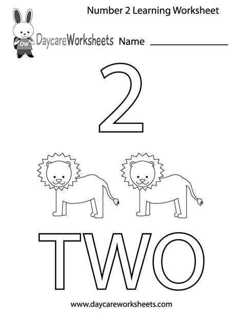 to two worksheets free preschool number two learning worksheet