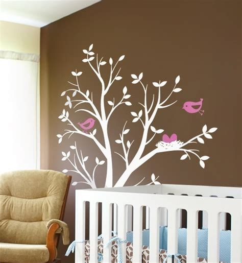 tree with birds and nest vinyl wall decal simspleshapes nursery baby girl name sticker flower pink mural