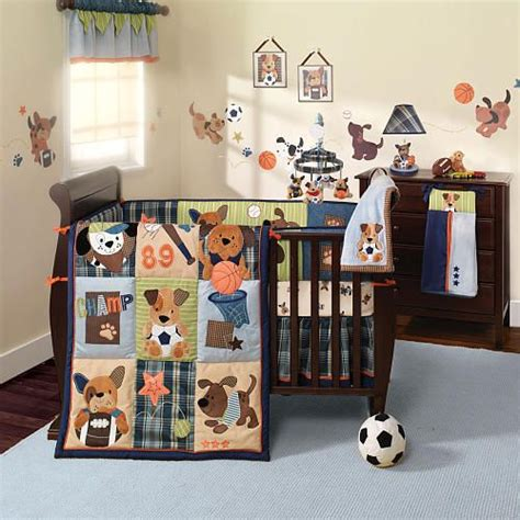 Lambs Ivy Bow Wow 9 Piece Bedding Set Boys Puppys And Lambs And Sports Crib Bedding