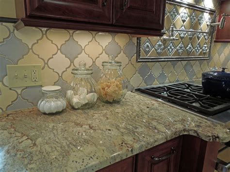 tri color arabesque backsplash traditional kitchen