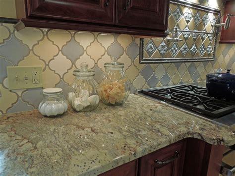 Tri color Arabesque Backsplash   Traditional   Kitchen