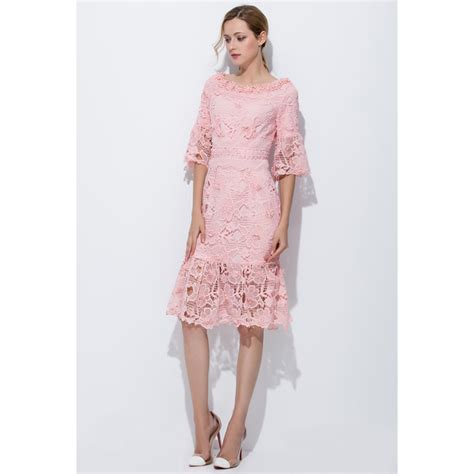 Dress Flower Big Size fashion dress for clothing 2017 pink crochet lace flowers big size dresses flare sleeve