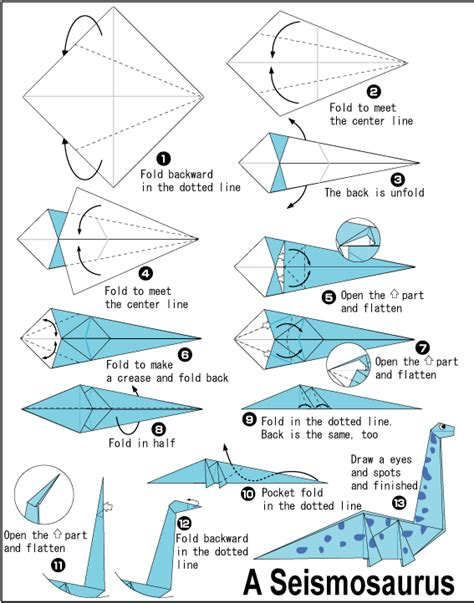 Origami Dinosaur Diagrams - origami