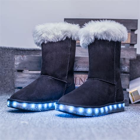 kids light up boots 2016 winter kids girls boots fashion warm plush fur snow