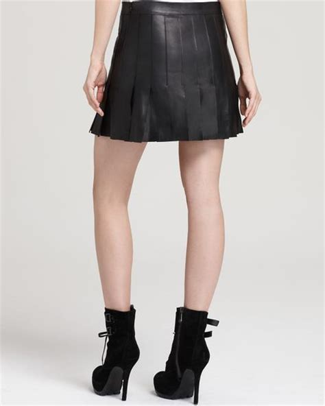 aiko leather skirt pleated mini in black lyst