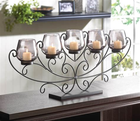 large 26 quot long black scroll fireplace candelabra candle