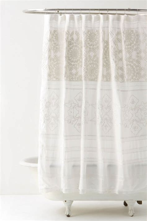 Sheer Fabric For Curtains Designs Classic Bathroom Design With Pretty White Anthropologie Shower Curtain High Quality Sheer