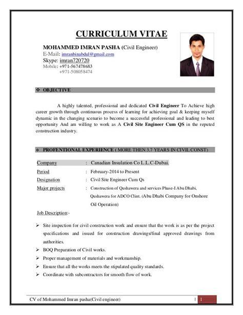 cv  mohammed imran pashacivil engineer  curriculum