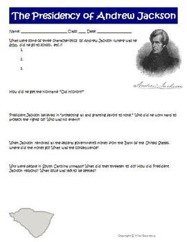 Andrew Jackson Worksheet by President Andrew Jackson Worksheet Activity By Wise Guys Tpt