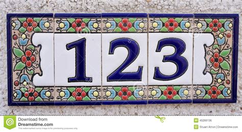 Green House Red Door house number stock photo image 45266136