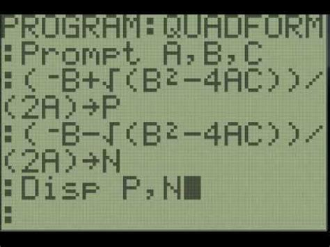 calculator quadratic equation program ti 83 84 programming quadratic formula youtube