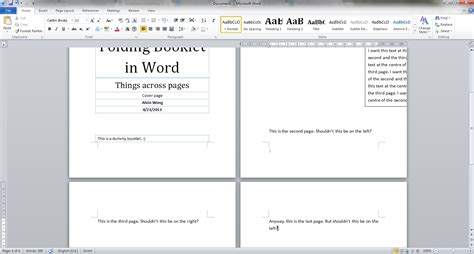 how to create a book template in word word 2010 make objects span across two pages in a booklet