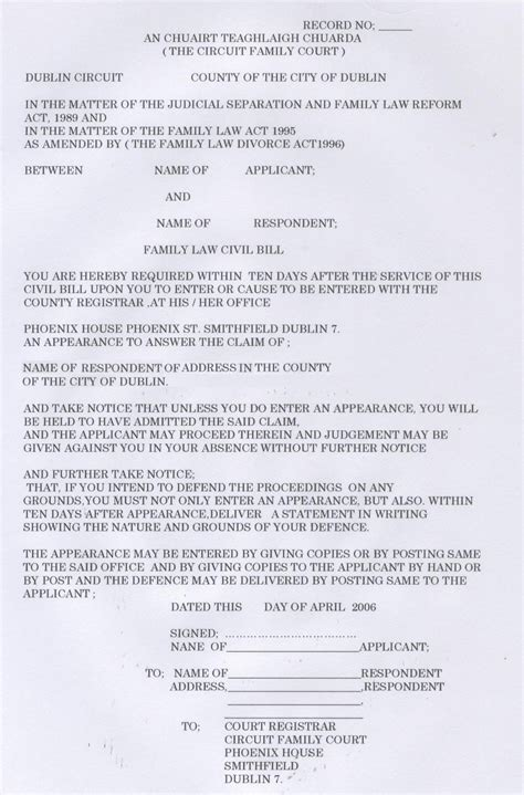 separation agreement template ireland exles of an afgfidavit for separation gallery
