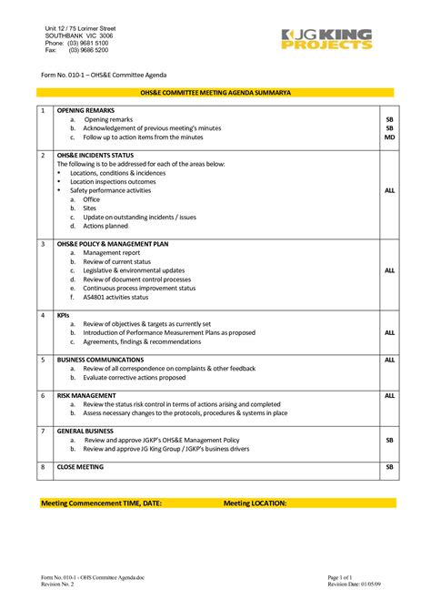 ohs committee meeting minutes template search results for safety meeting minutes template