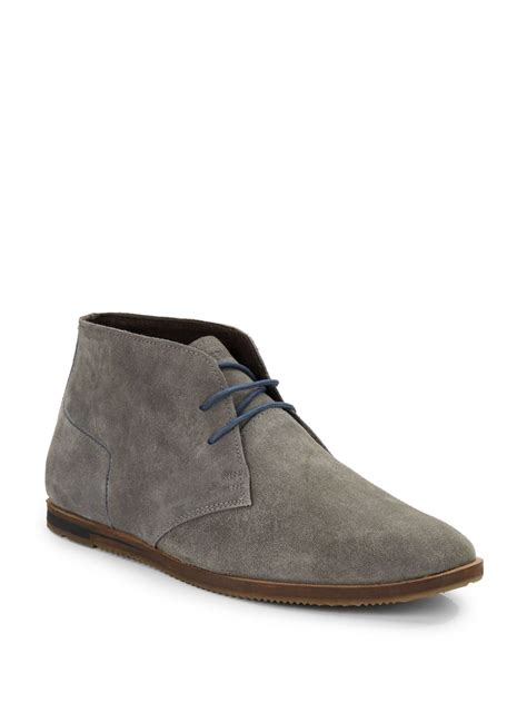 ben sherman aberdeen suede chukka boots in gray for lyst