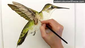 how to paint realistic hummingbird feathers in watercolor