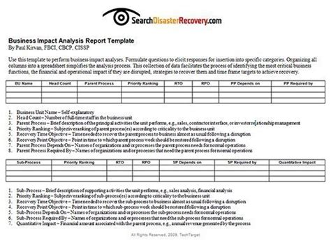 business process impact analysis template what is business impact analysis bia definition from