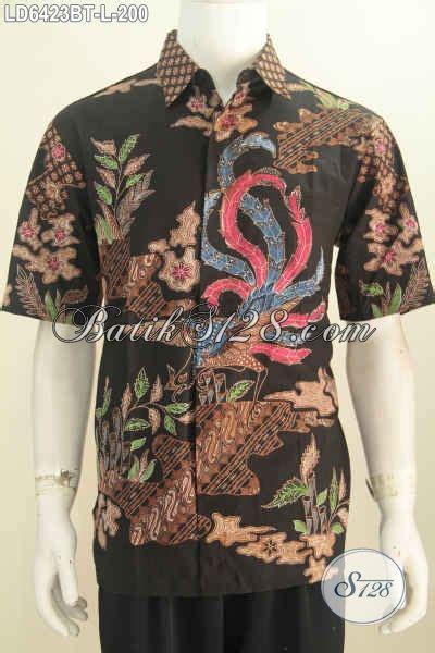 Jual Baju Buat jual baju batik motif terbaru hem batik hitam kombinasi tulis model lengan pendek buat