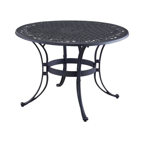 metal patio dining table 48 inch round black metal outdoor patio dining table with