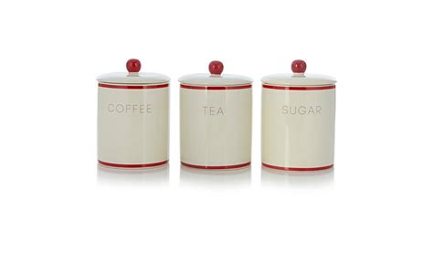 Red Kitchen Canister by George Home Cream And Red Tea Coffee And Sugar Canister